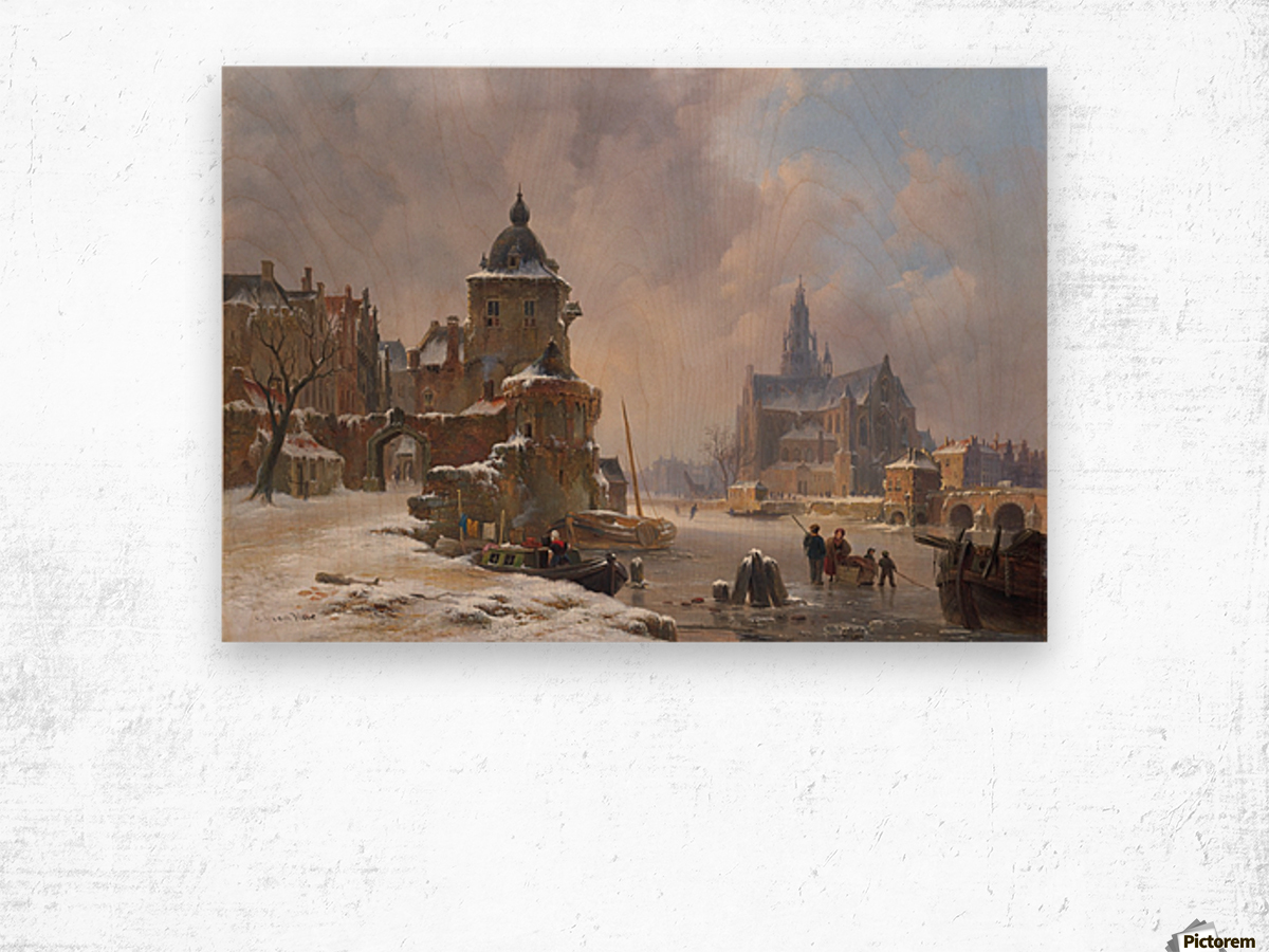 Winter cityscape with frozen river Wood print