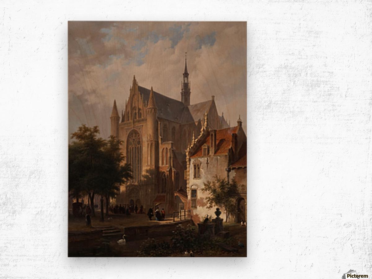 Het uitgaan van de kerk in Leiden Wood print