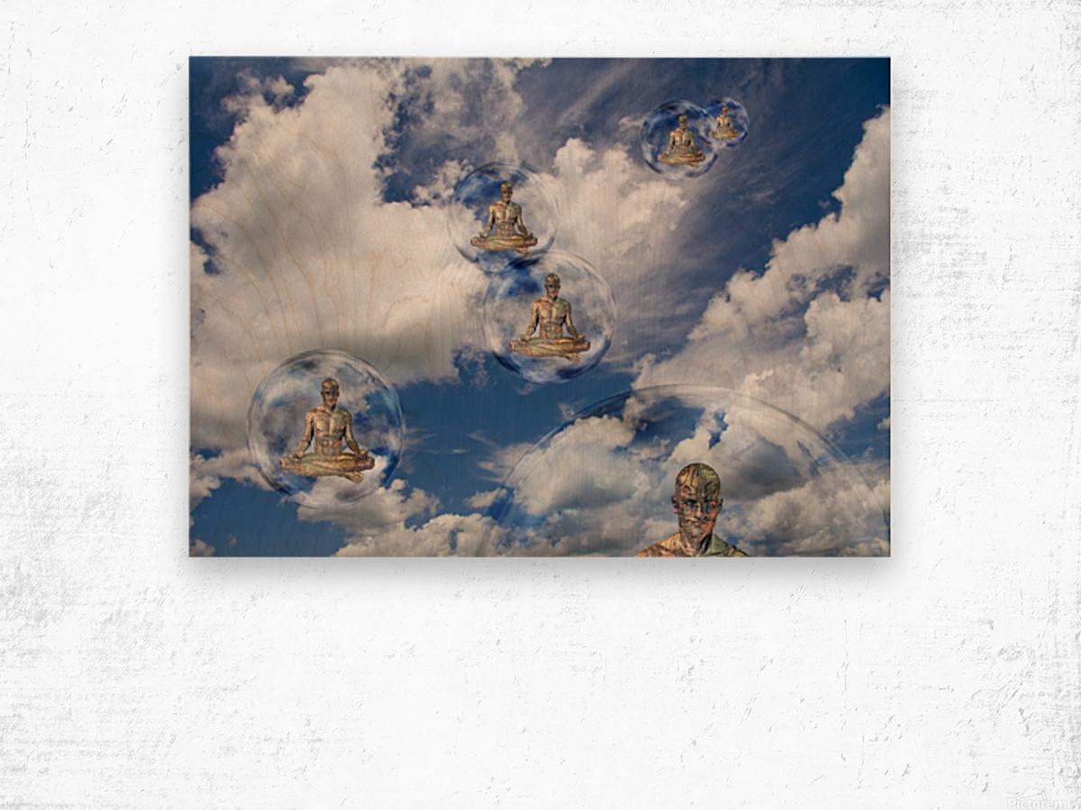 Cyborgs Meditation Wood print