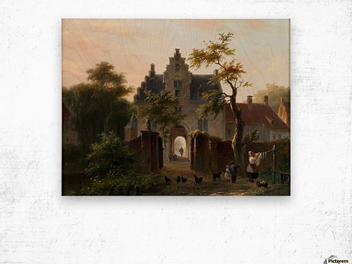 A woman hanging the wash in front of the gates Wood print