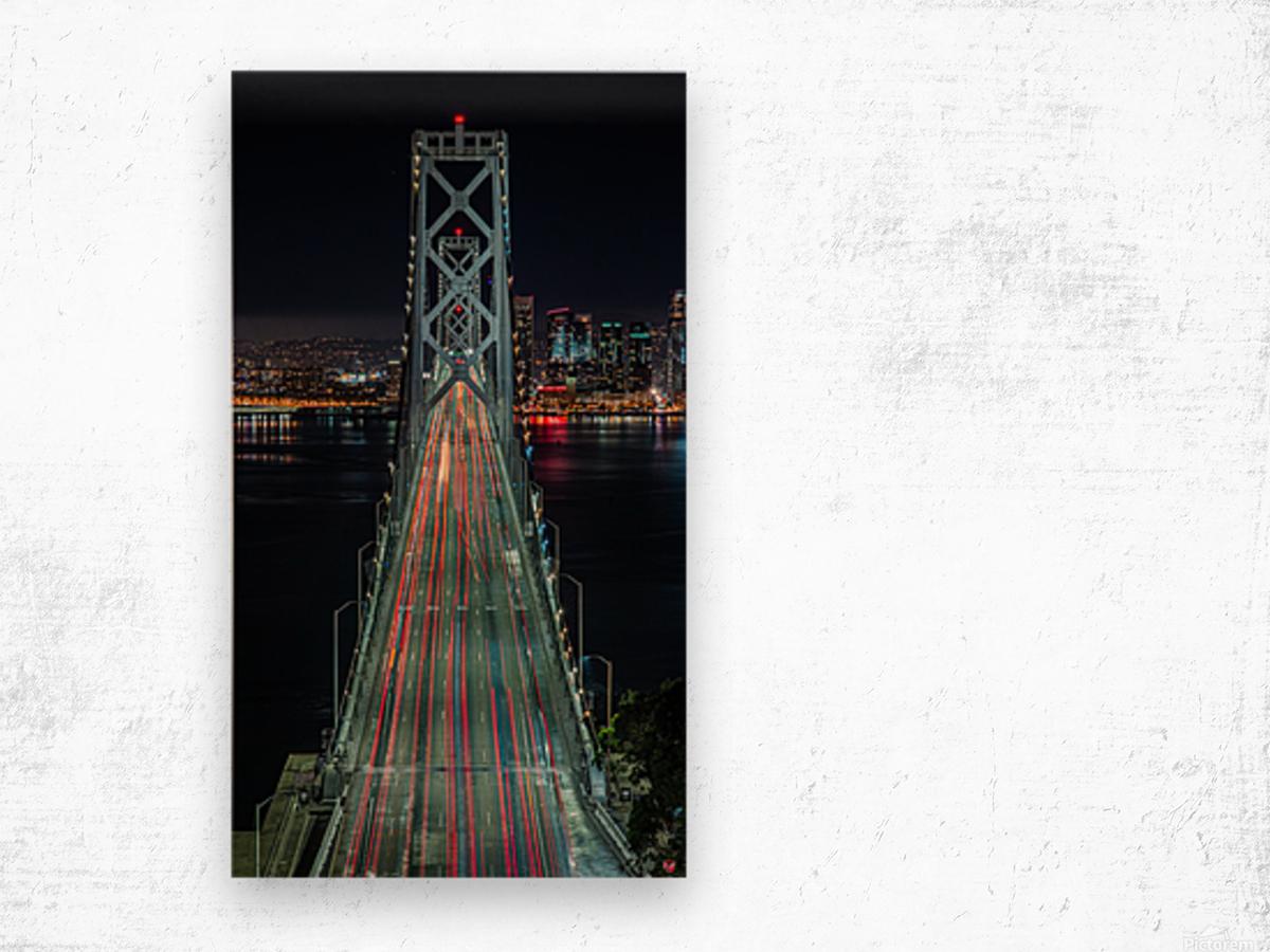Oakland - San Francisco Bay Bridge at Night Wood print