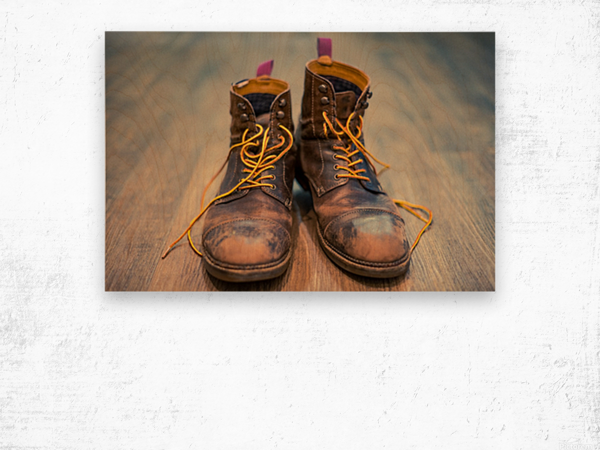 Worn Out Boots Wood print