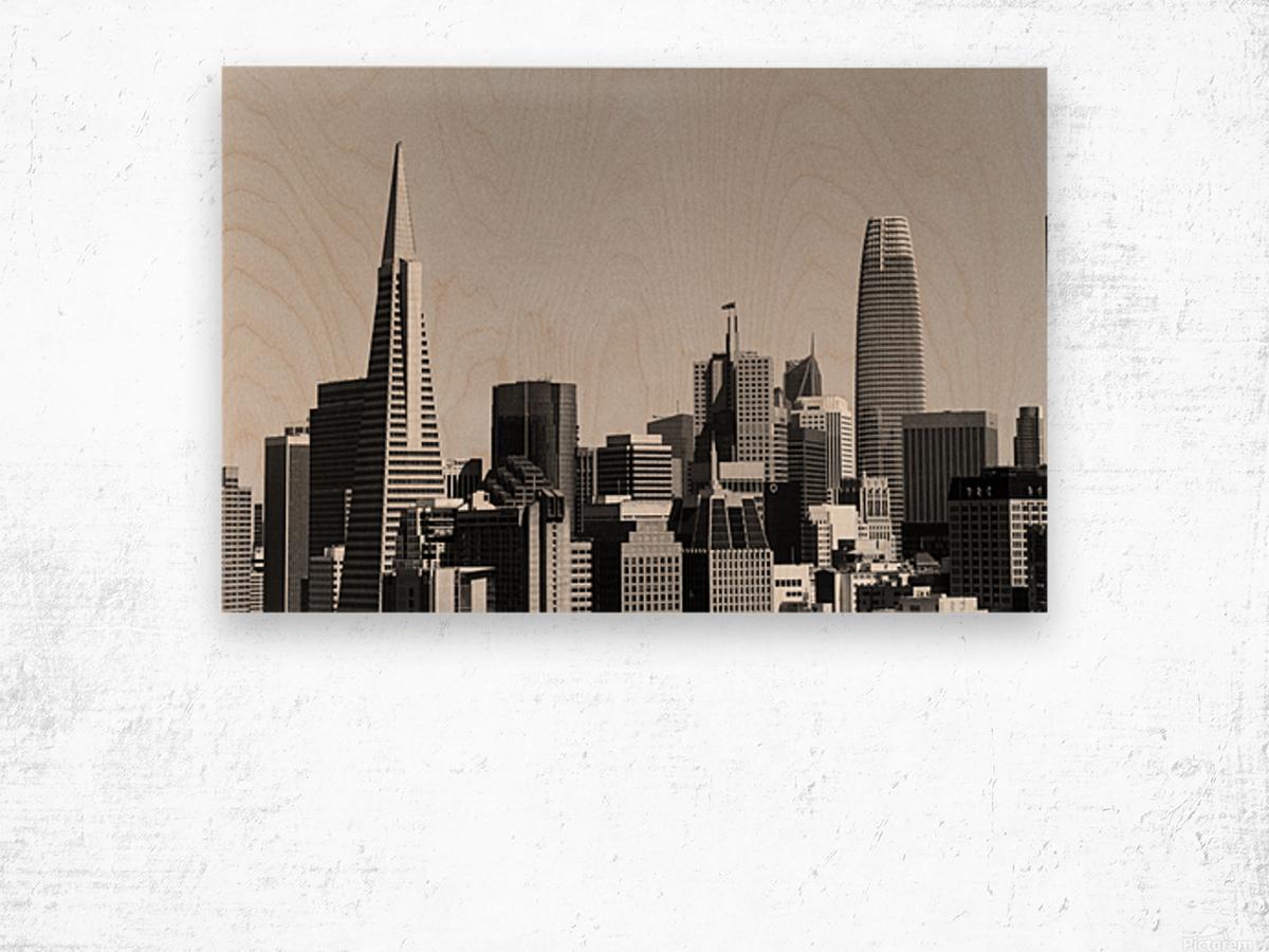 Black and White San Francisco Skyline Wood print