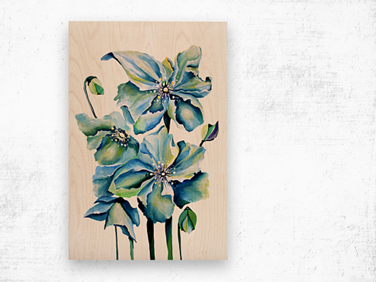Blue Poppies Watercolor Wood print