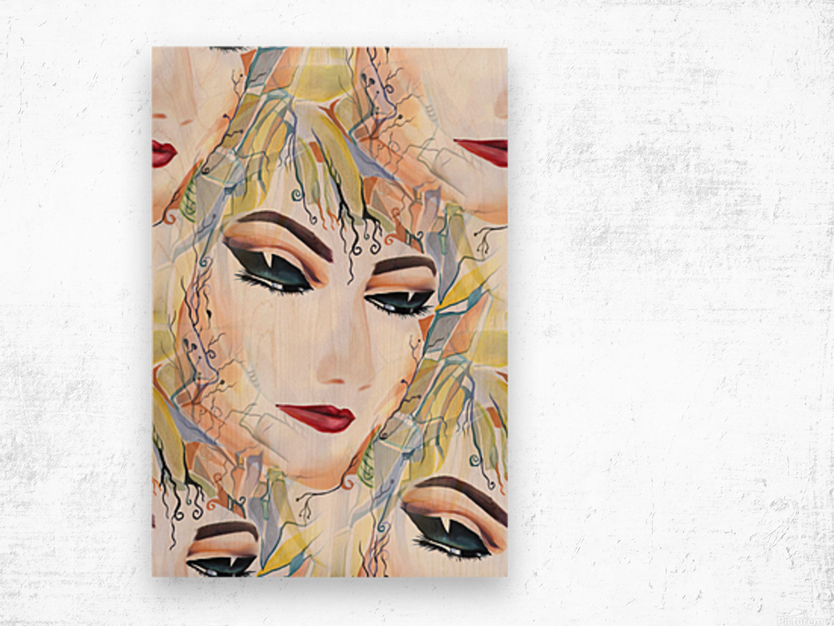 Mysterious Female in Seamless Pattern Wood print