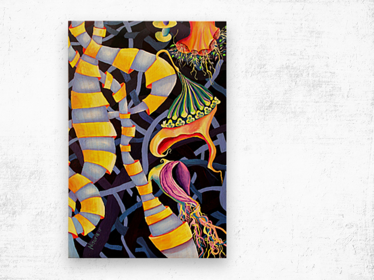 Watercolor Tropical Surrealism Orchids Painting Wood print
