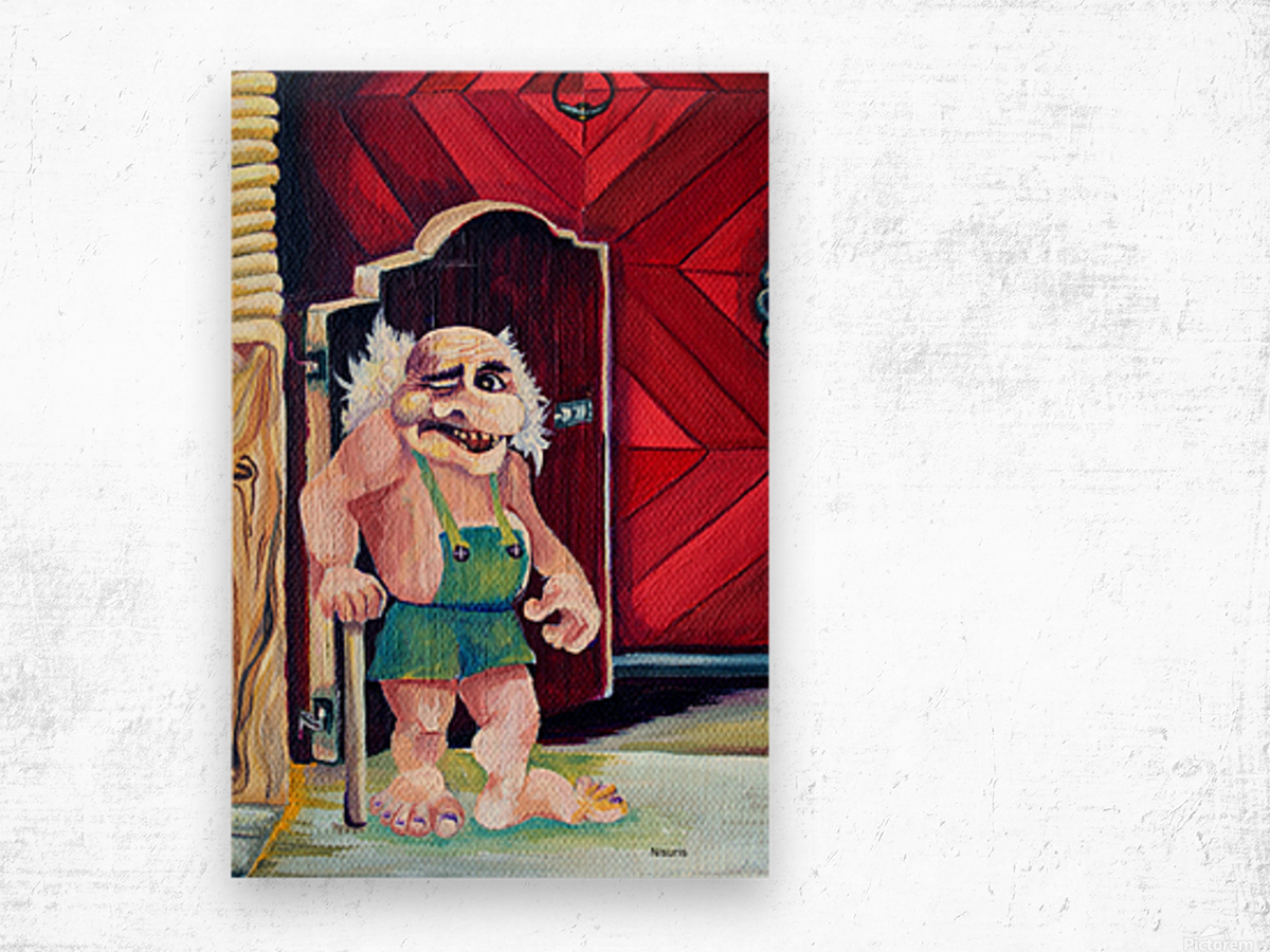Scandinavian Folklore Troll Artwork  Wood print