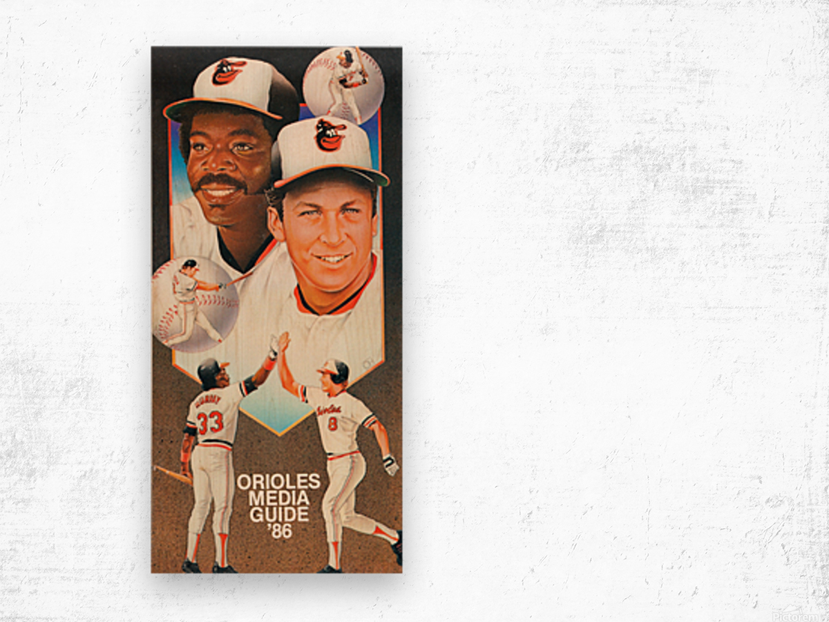 1986 Baltimore Orioles Media Guide Canvas Impression sur bois
