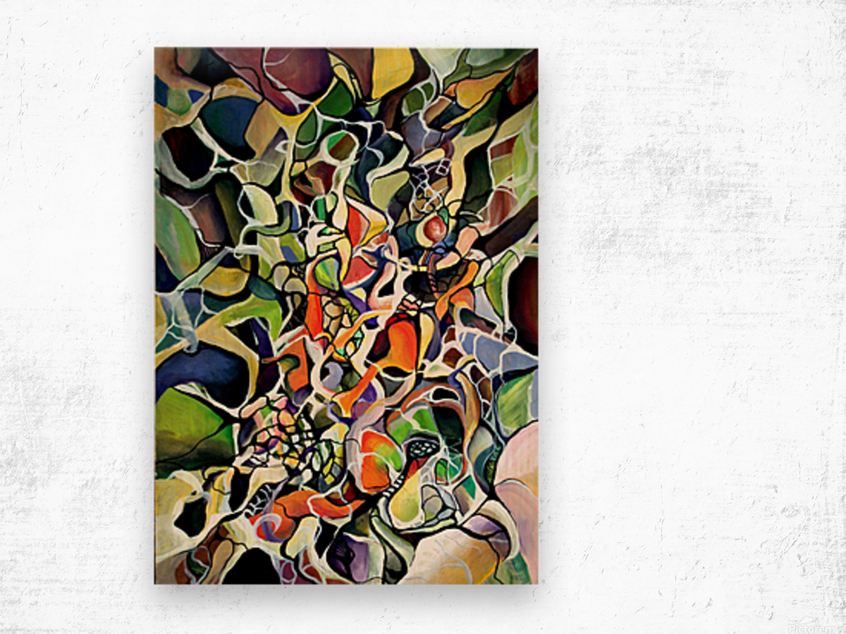 Subconsciousness Toughts in Maximalism Contemporary Wood print
