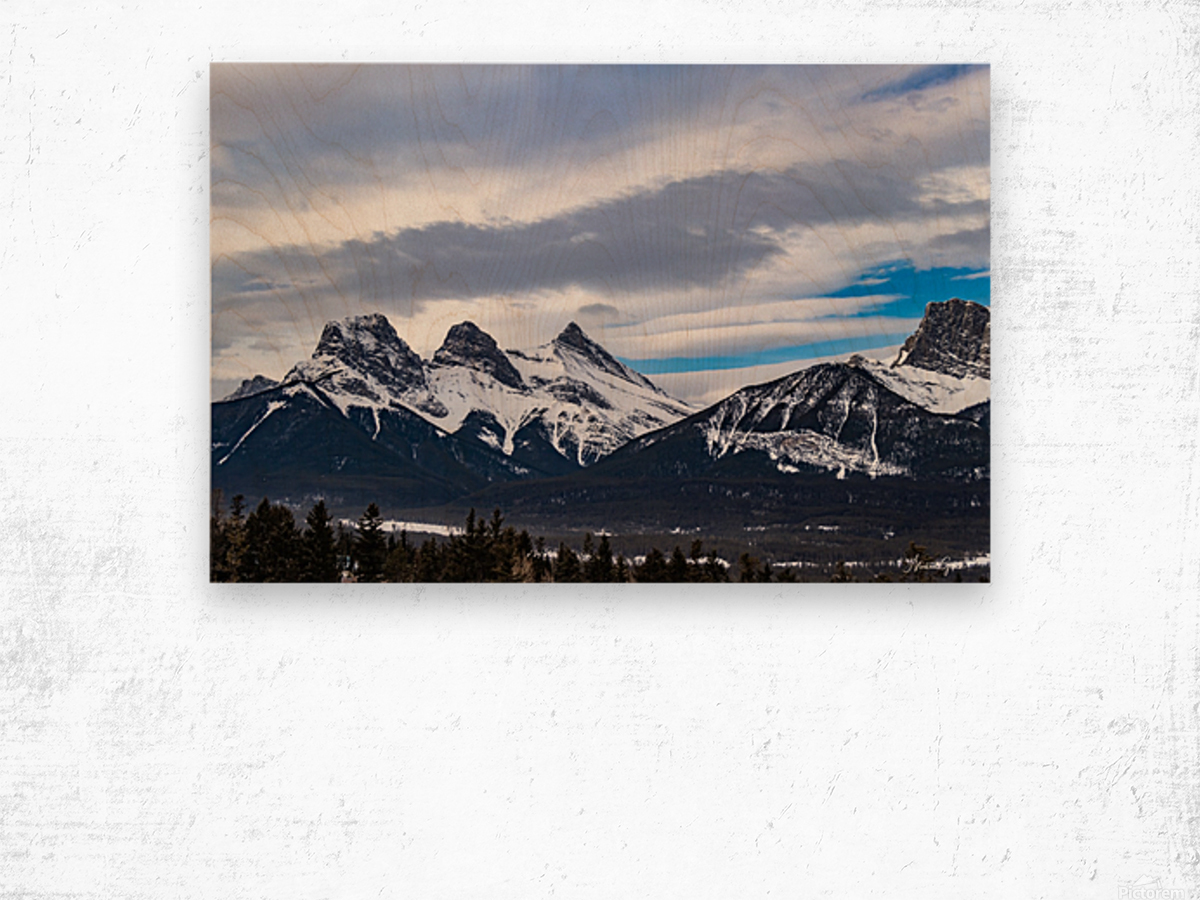Three Sisters Mountain Wood print