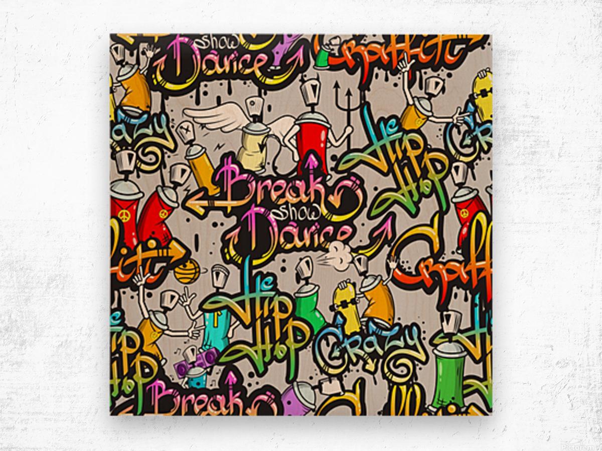 hip hop background Wood print