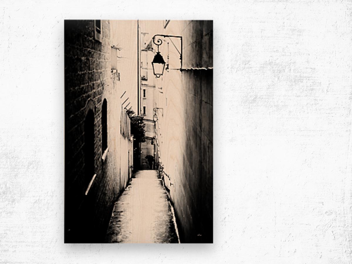 a very narrow street in Paris Wood print