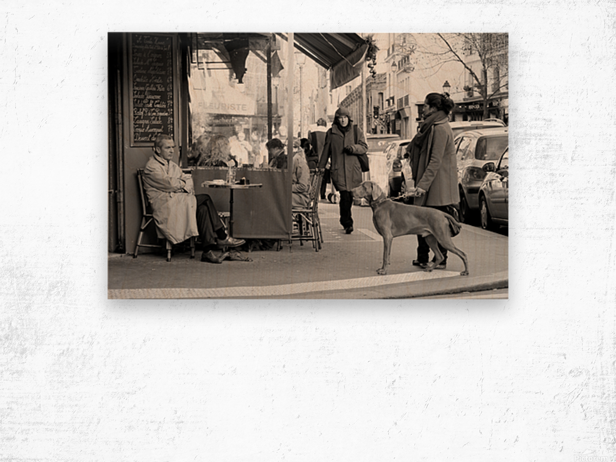 Street Life in Le Marais Wood print
