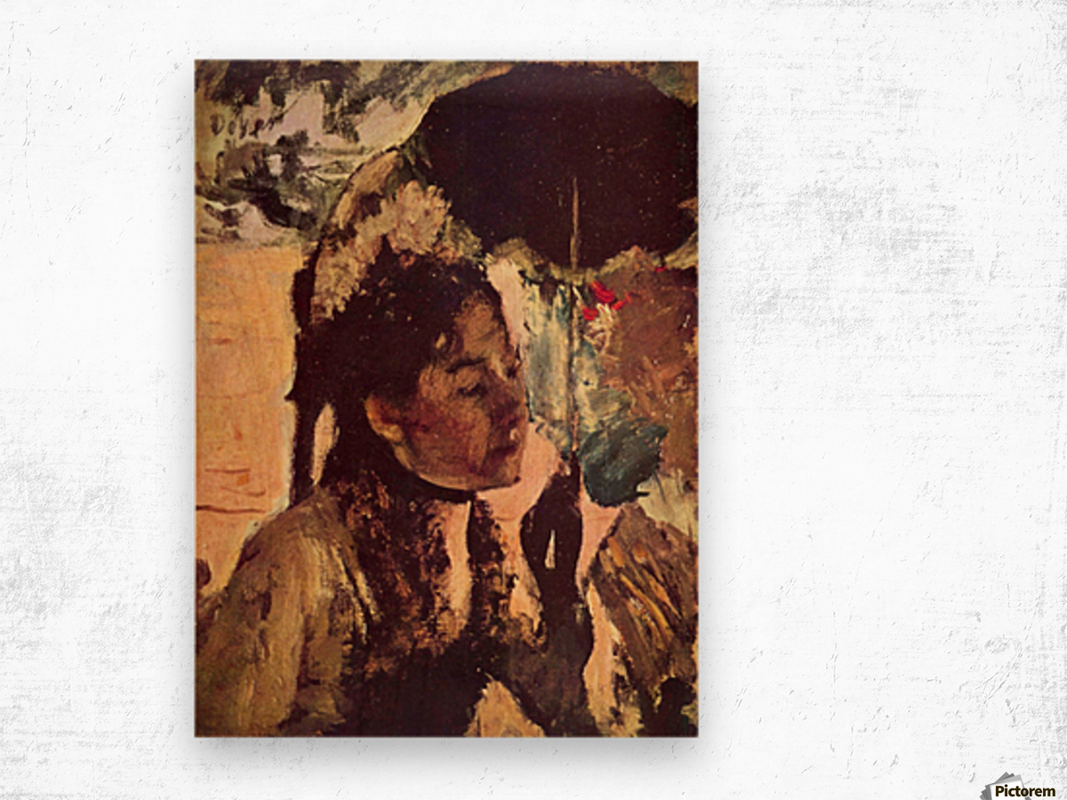 In the Tuileries - Woman with Parasol by Degas Wood print