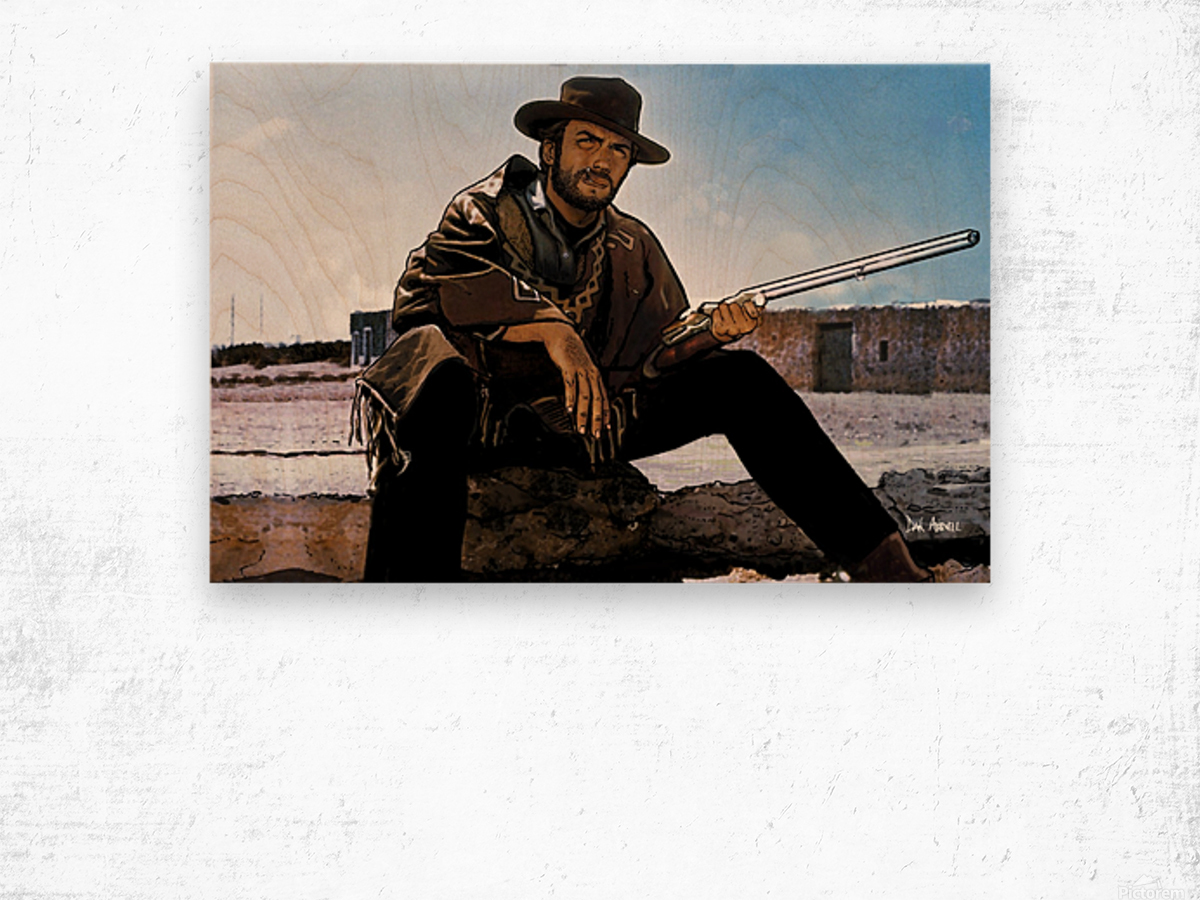 Clint Eastwood as The Man With No Name Wood print