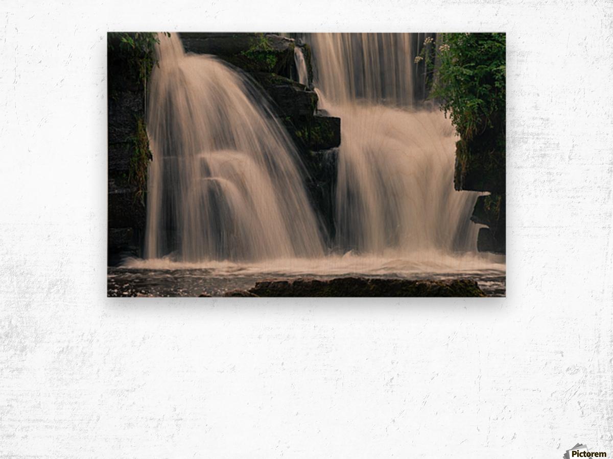 Waterfalls in Penllergare woods Wood print