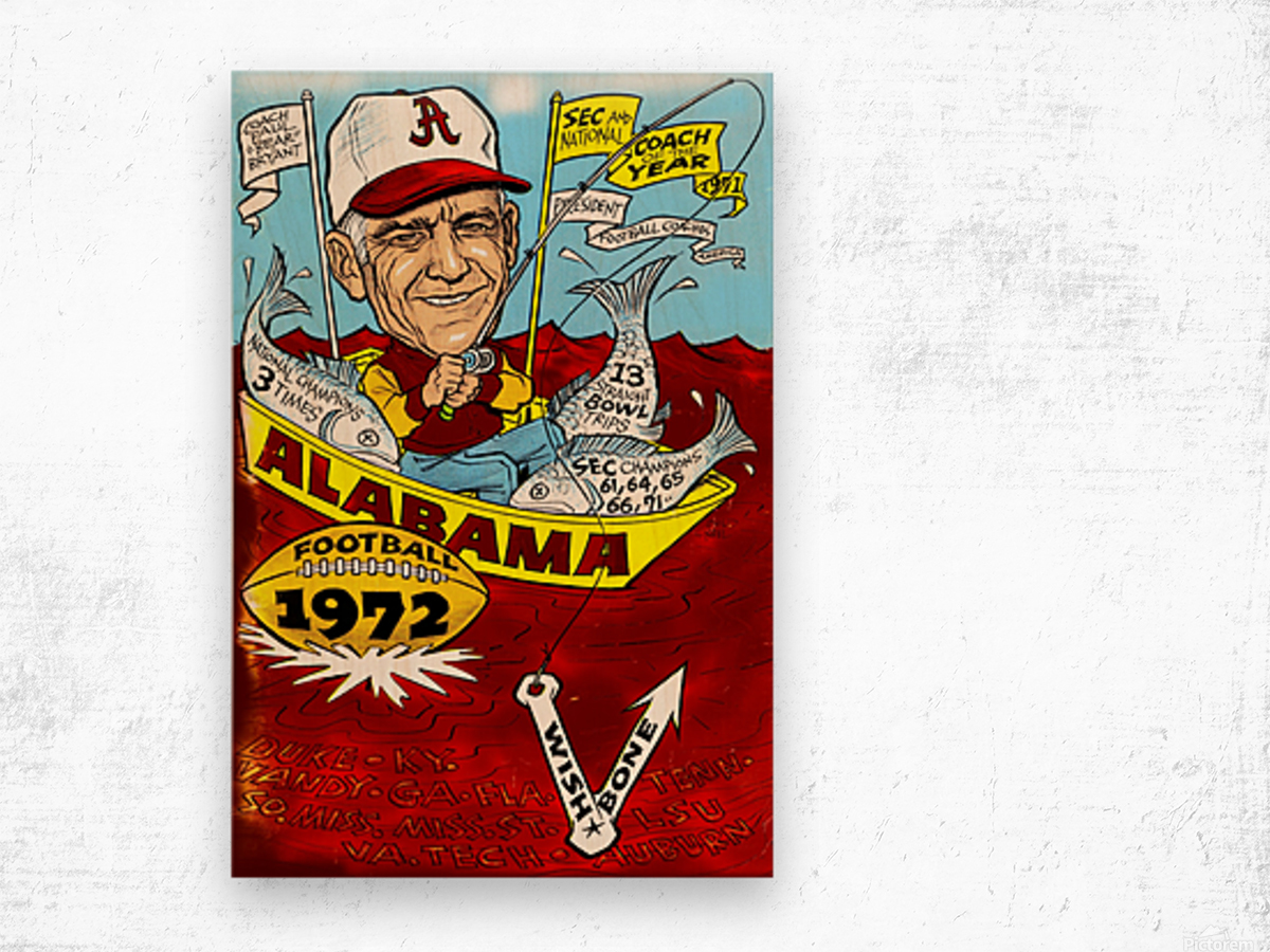 1972 alabama football Wood print