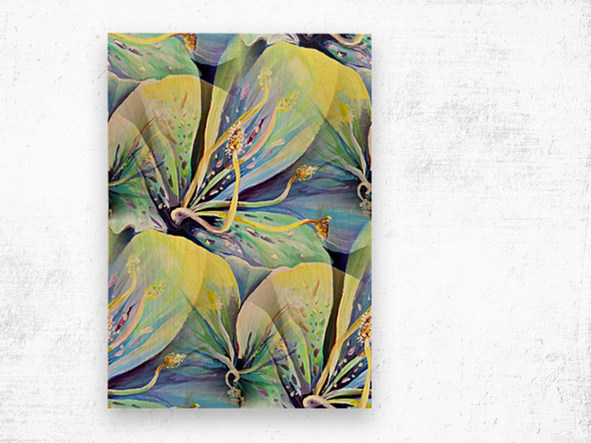 Blooming flowers Seamless Pattern Wood print