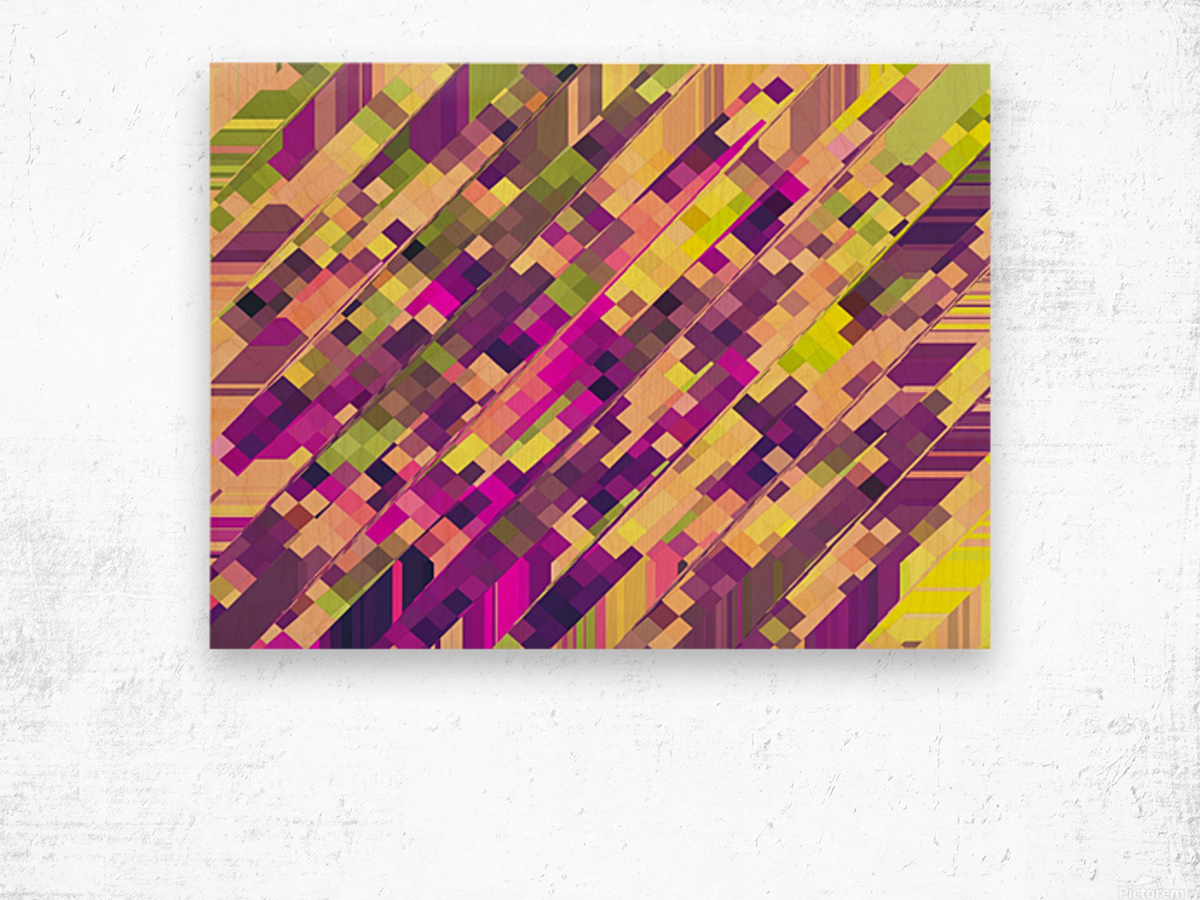 geometric square pixel pattern abstract background in pink purple green Wood print
