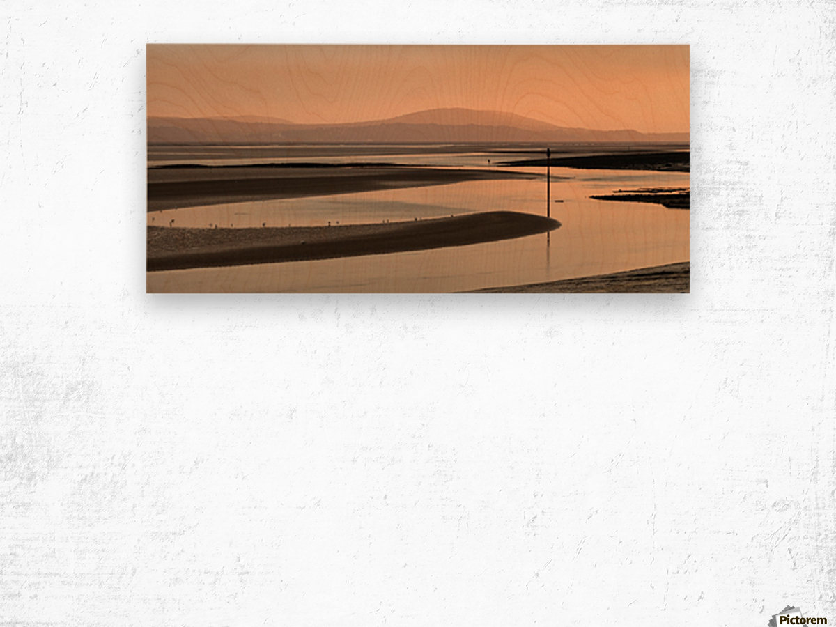 Loughor estuary at dusk Wood print