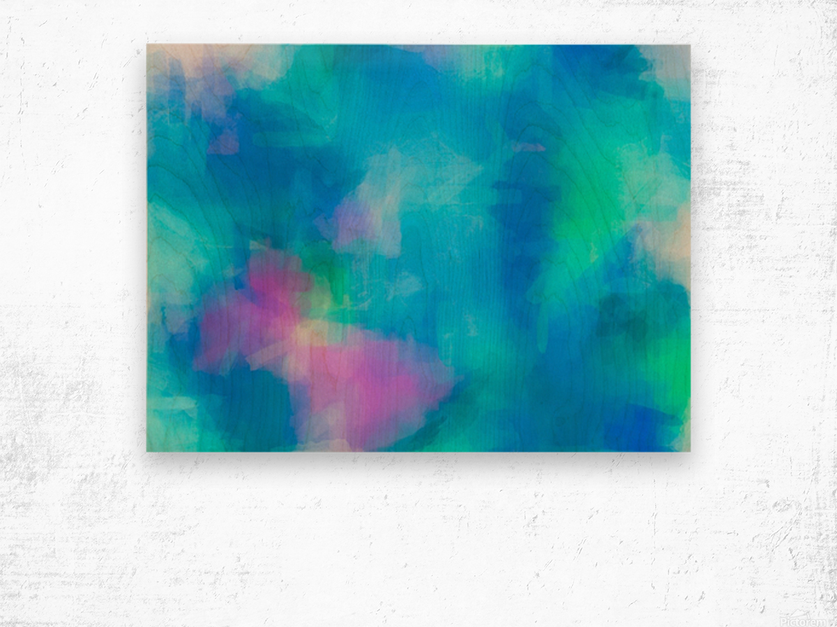 splash painting texture abstract background in blue and pink Wood print