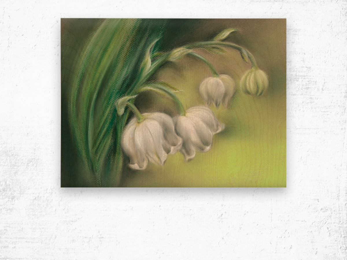 Lily of the Valley Flowers Wood print