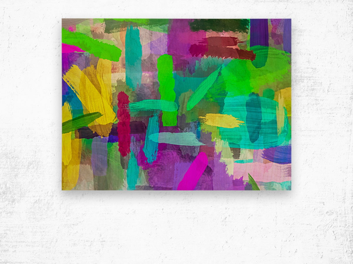 splash brush painting texture abstract background in green blue pink purple Wood print