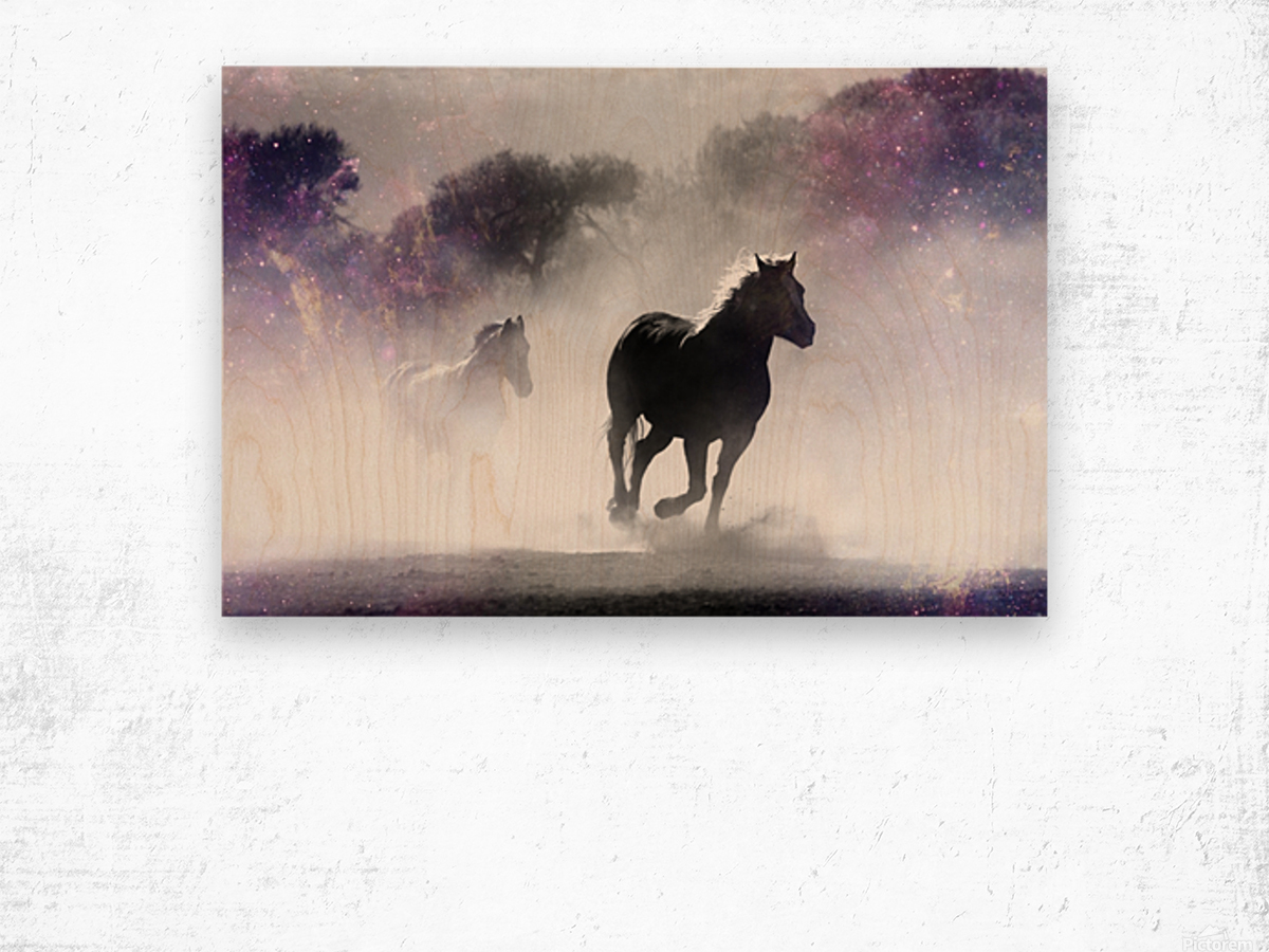 Wild Horses in Nature Wood print
