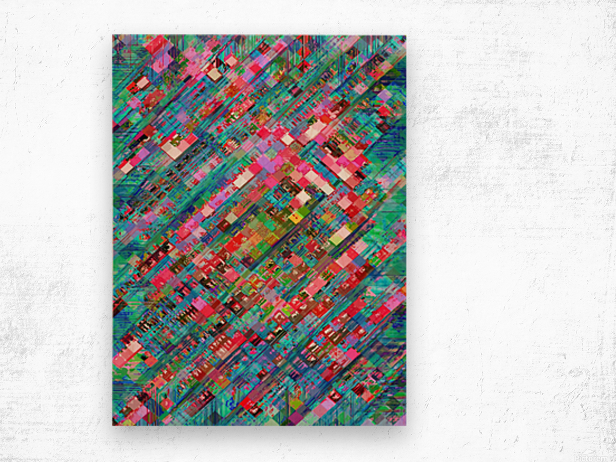geometric square pixel pattern abstract background in blue pink Wood print