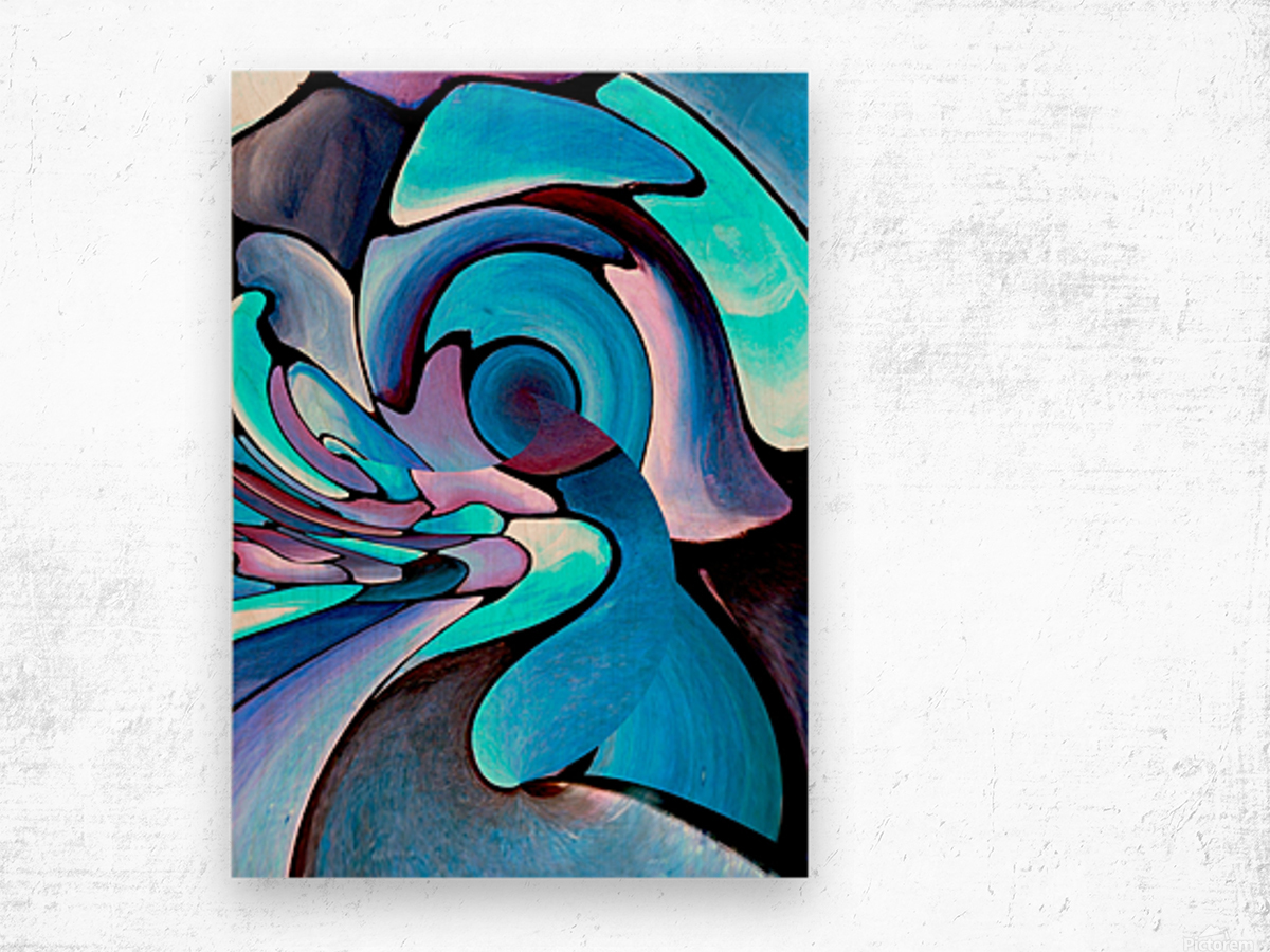 Twisted Splash of Blue Shapes  Wood print