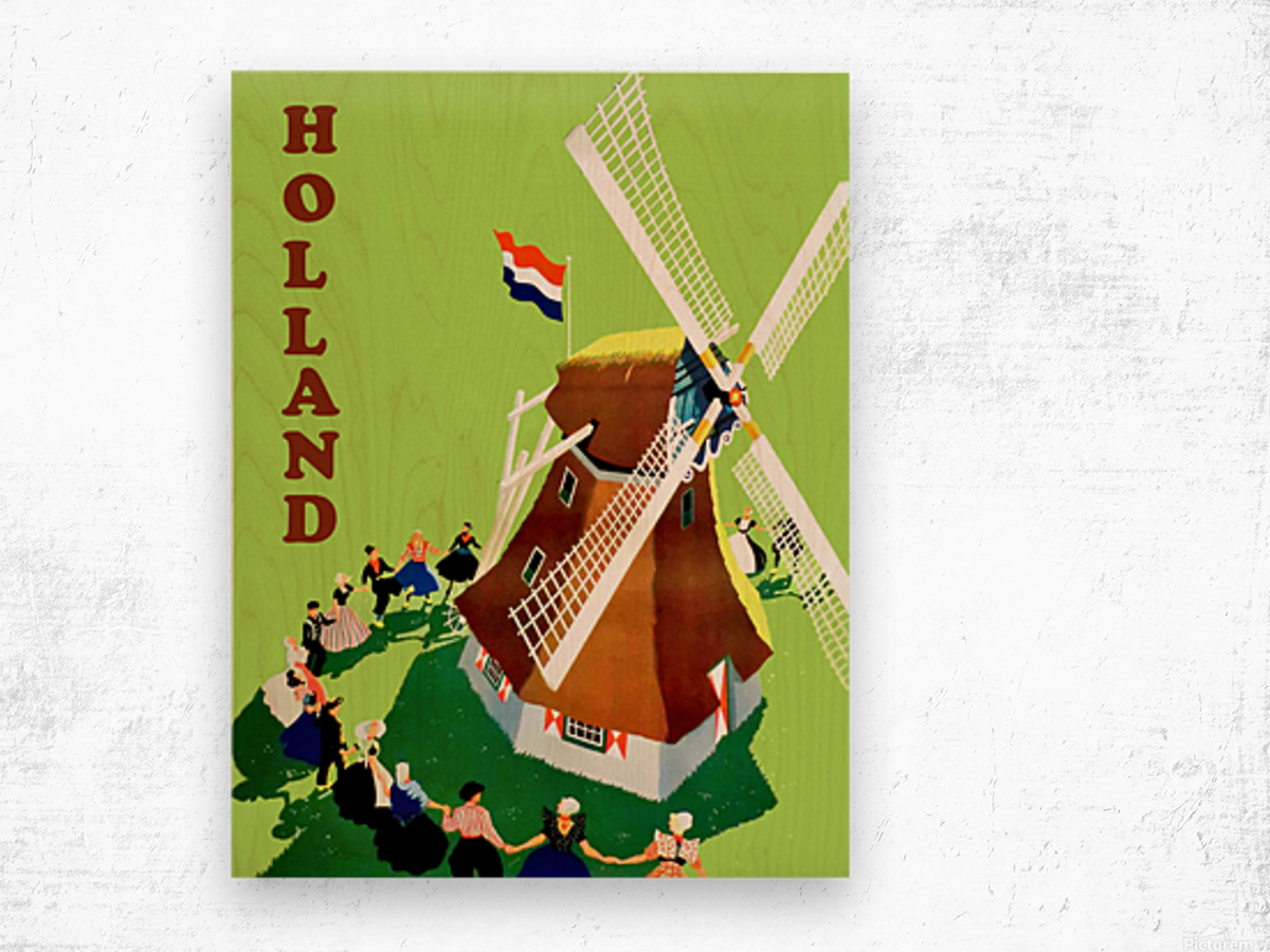 Holland Windmill Wood print