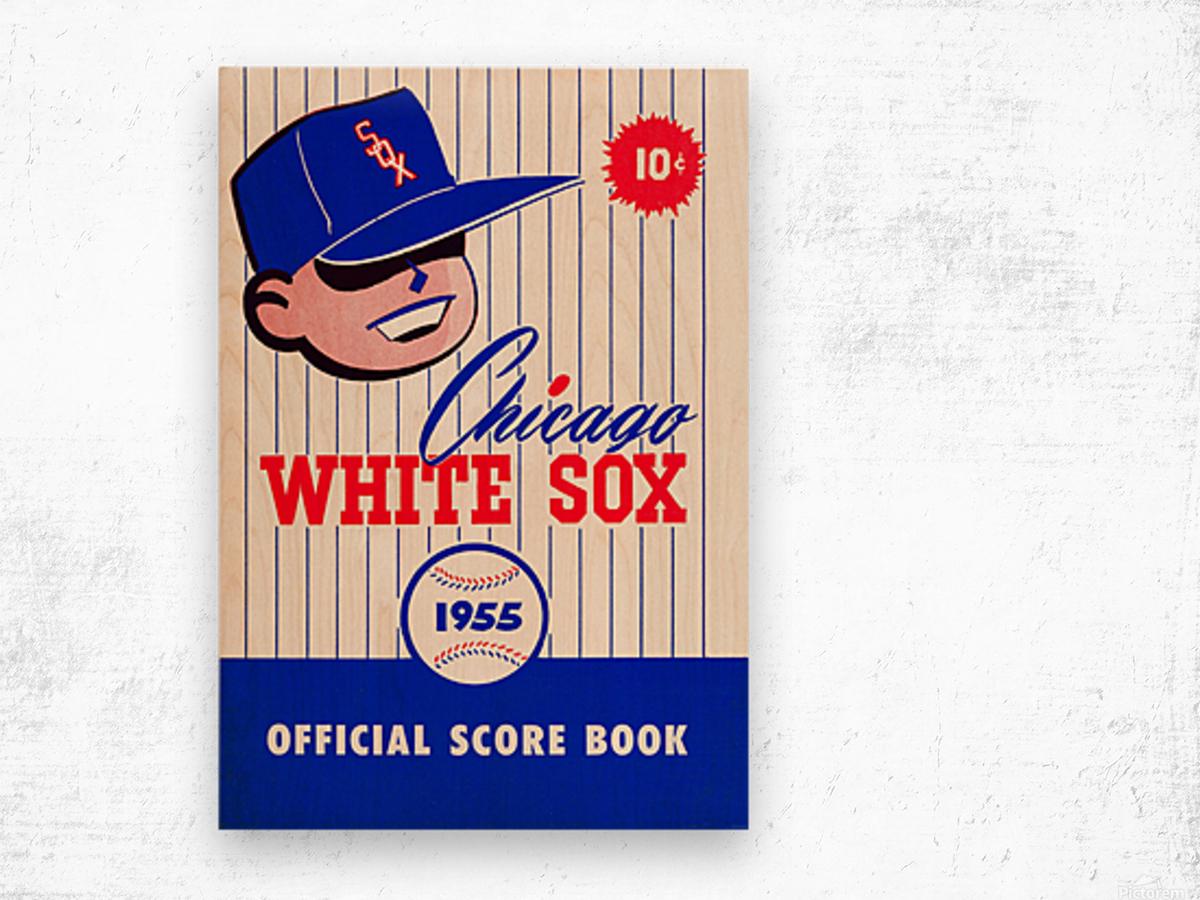 1955 chicago white sox mlb baseball score book poster Wood print