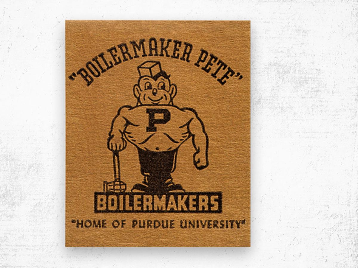 1950s Purdue University Boilermaker Pete Art Wood print