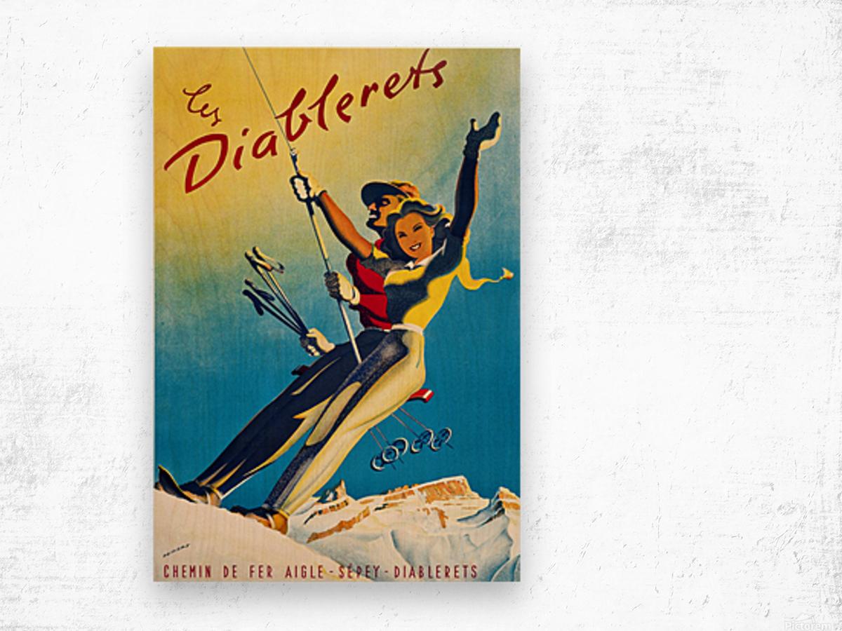 Skiing on Les Diablerets Wood print