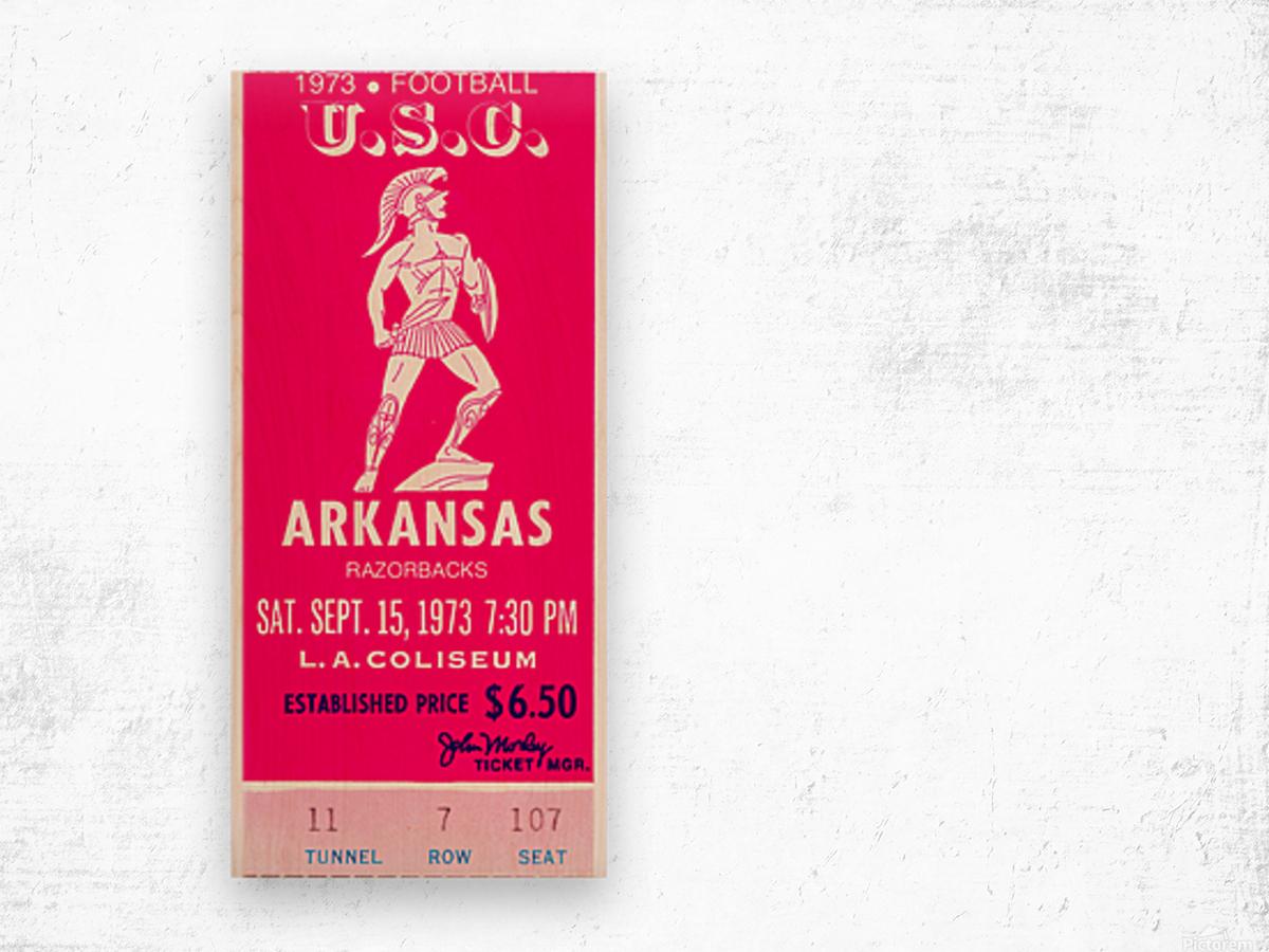 1973 usc trojans arkansas college football ticket stub art Wood print