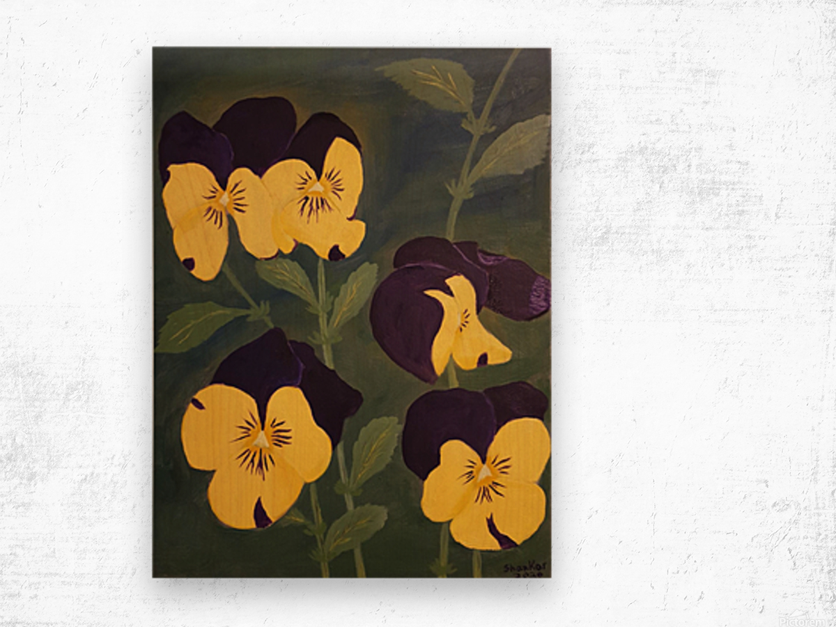 Yellow and purple pansies Wood print