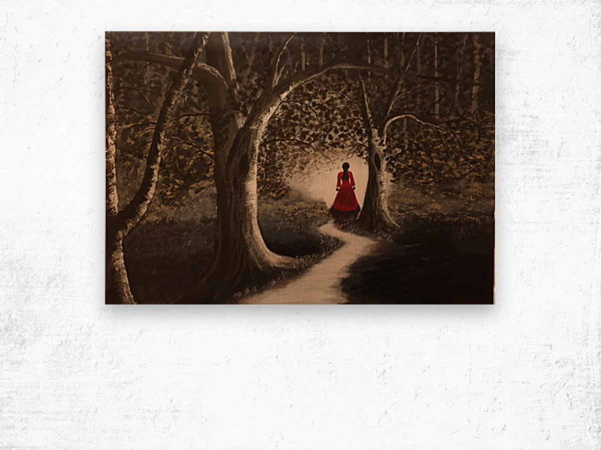 Lady in red2 Wood print