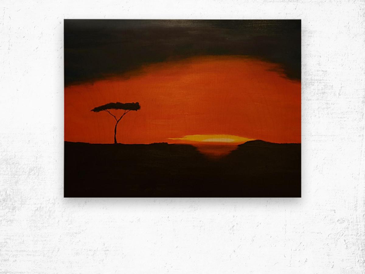 Sunrise of Serengeti Wood print