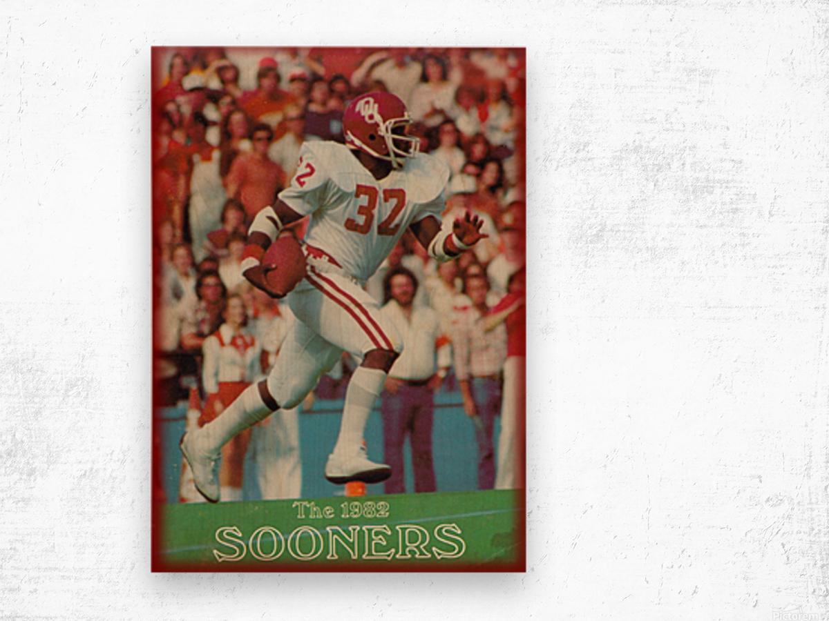 1982 oklahoma sooners retro college football poster Wood print