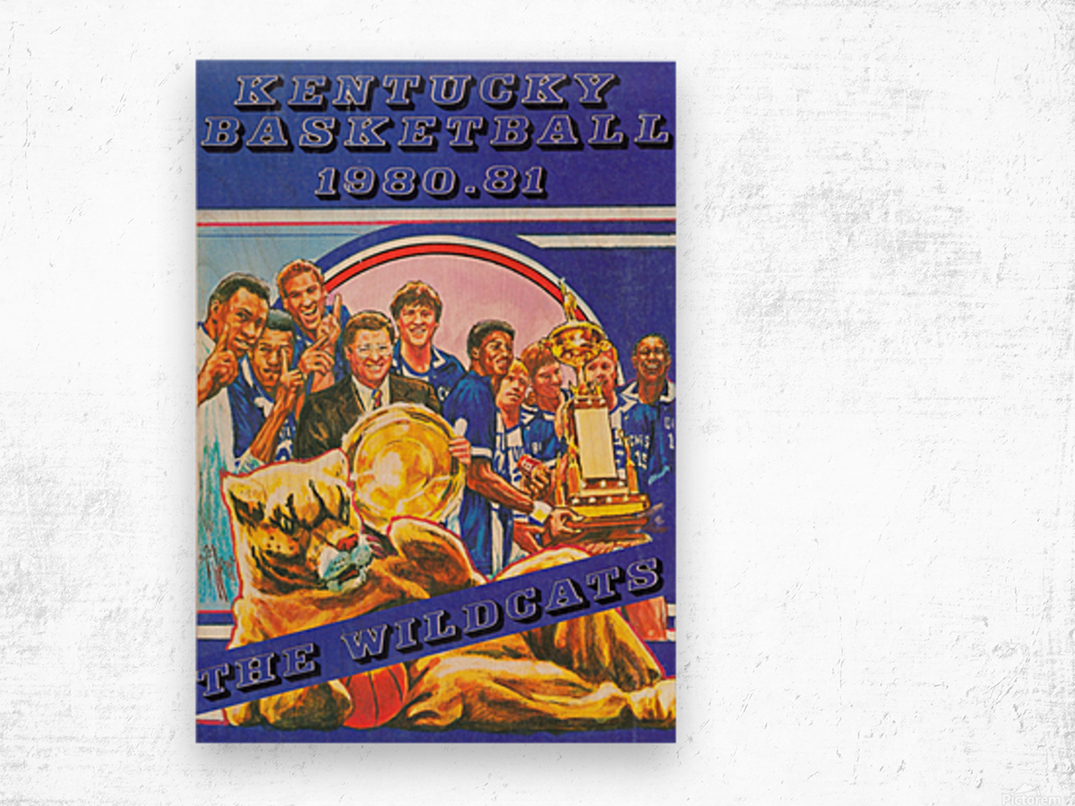 1980 kentucky wildcats basketball poster ted watts sports artist Wood print