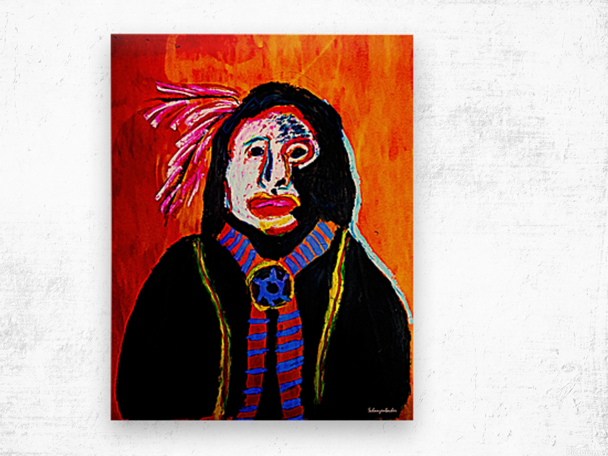 Masked Indian Wood print