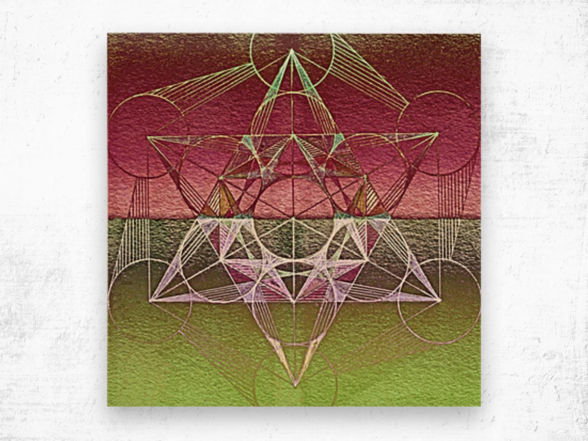 Cube of Metatron Red Green Wood print