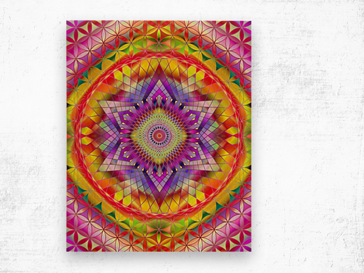 Vintage Mandala Orange Snowflake Wood print