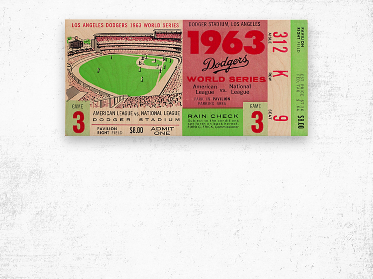 1963 world series ticket stub art la dodgers home decor Wood print