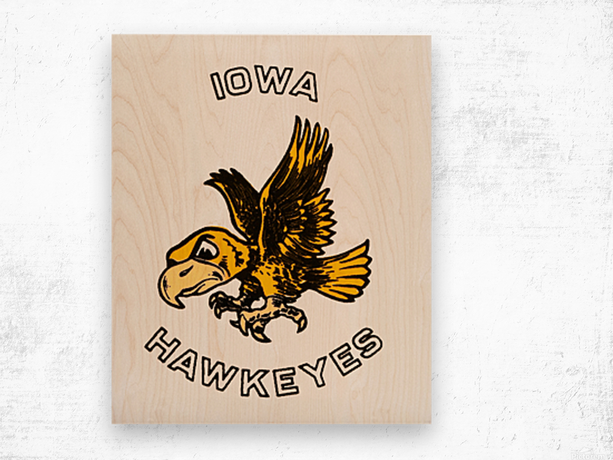 Vintage Iowa Hawkeyes Art Wood print