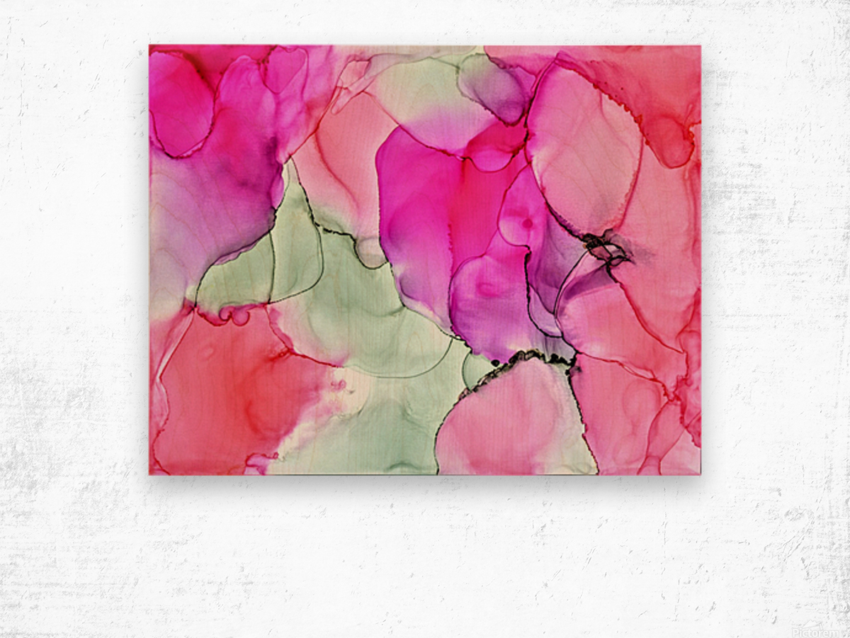 Happiness in Pink Wood print