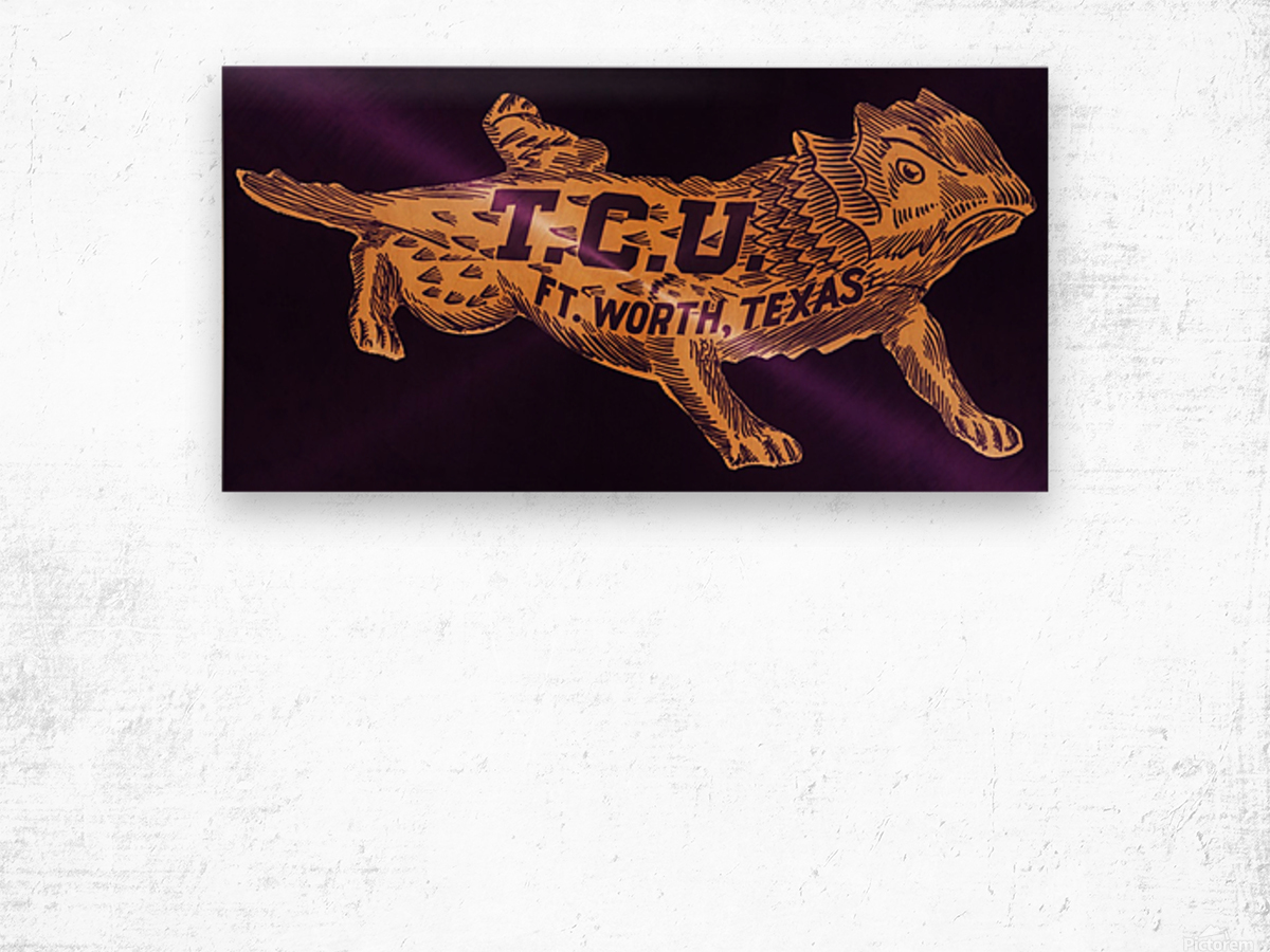 vintage college mascot art tcu horned frogs ft worth texas Wood print