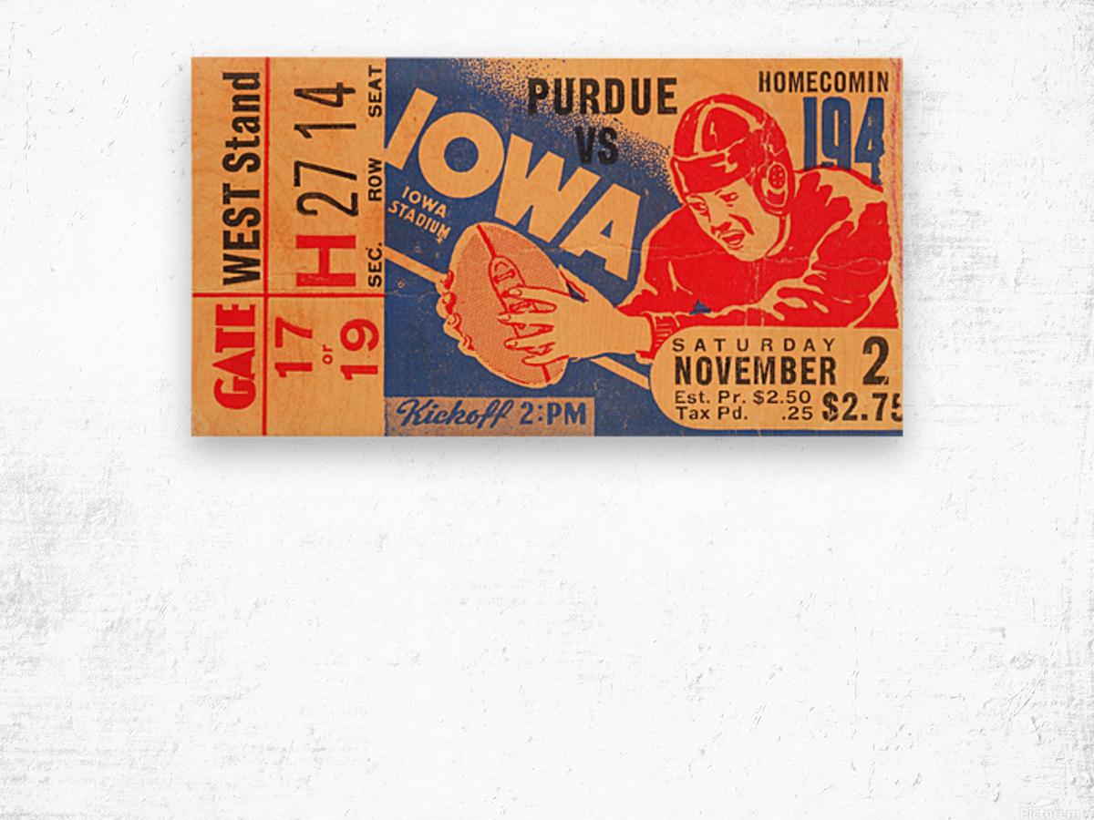 1940 Iowa vs. Purdue Wood print