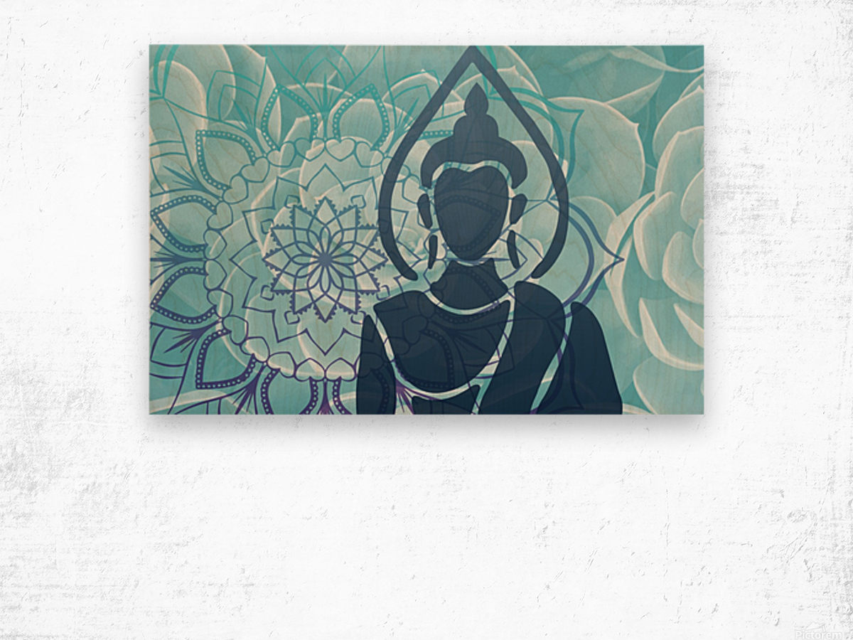 Buddha Mandala blue turqouise Wood print