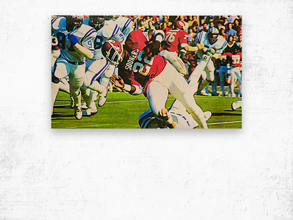 1982 Marcus Dupree Oklahoma Football Art Wood print